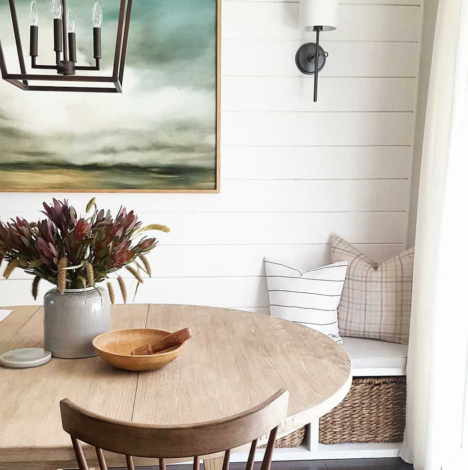 breakfast nook with shiplap and sconce