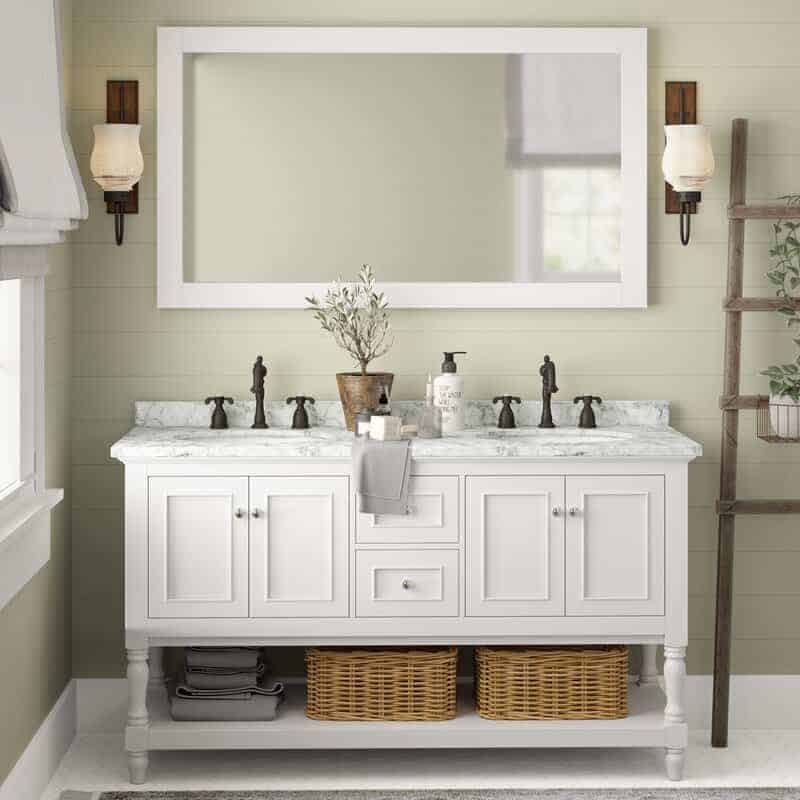 Wayfair White Double Vanity with Mirror