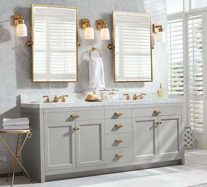 Pottery Barn Gray and Gold Double Vanity