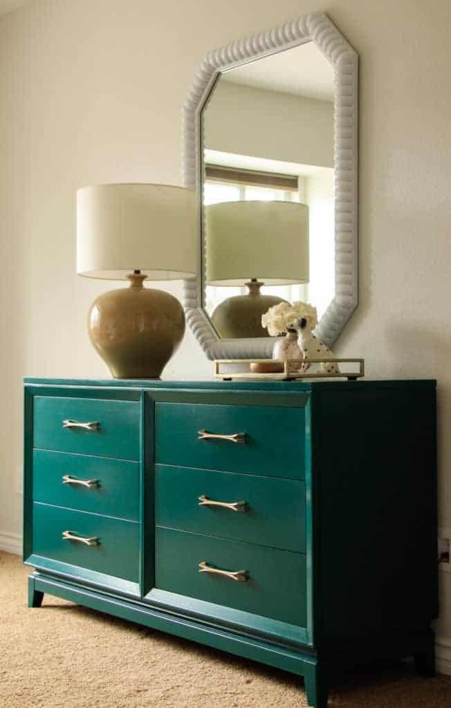 Dark Green Dresser and Thrifted Mirror Makeover