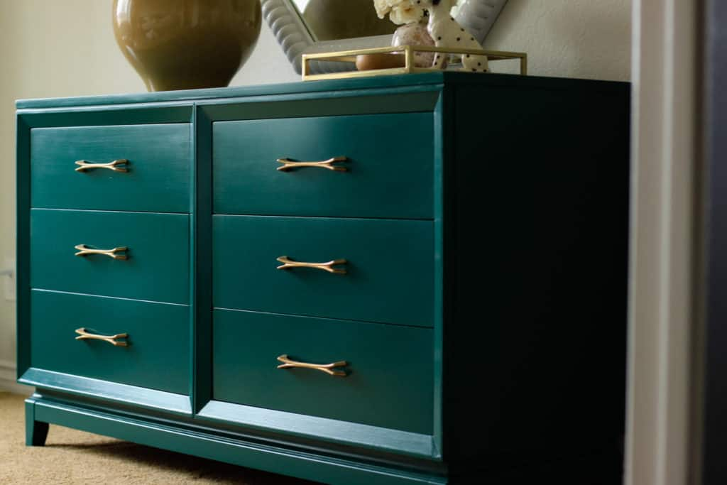 dark green dresser makeover