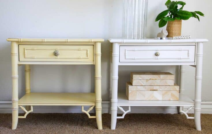 old vintage nightstand next to painted white chippendale nightstands