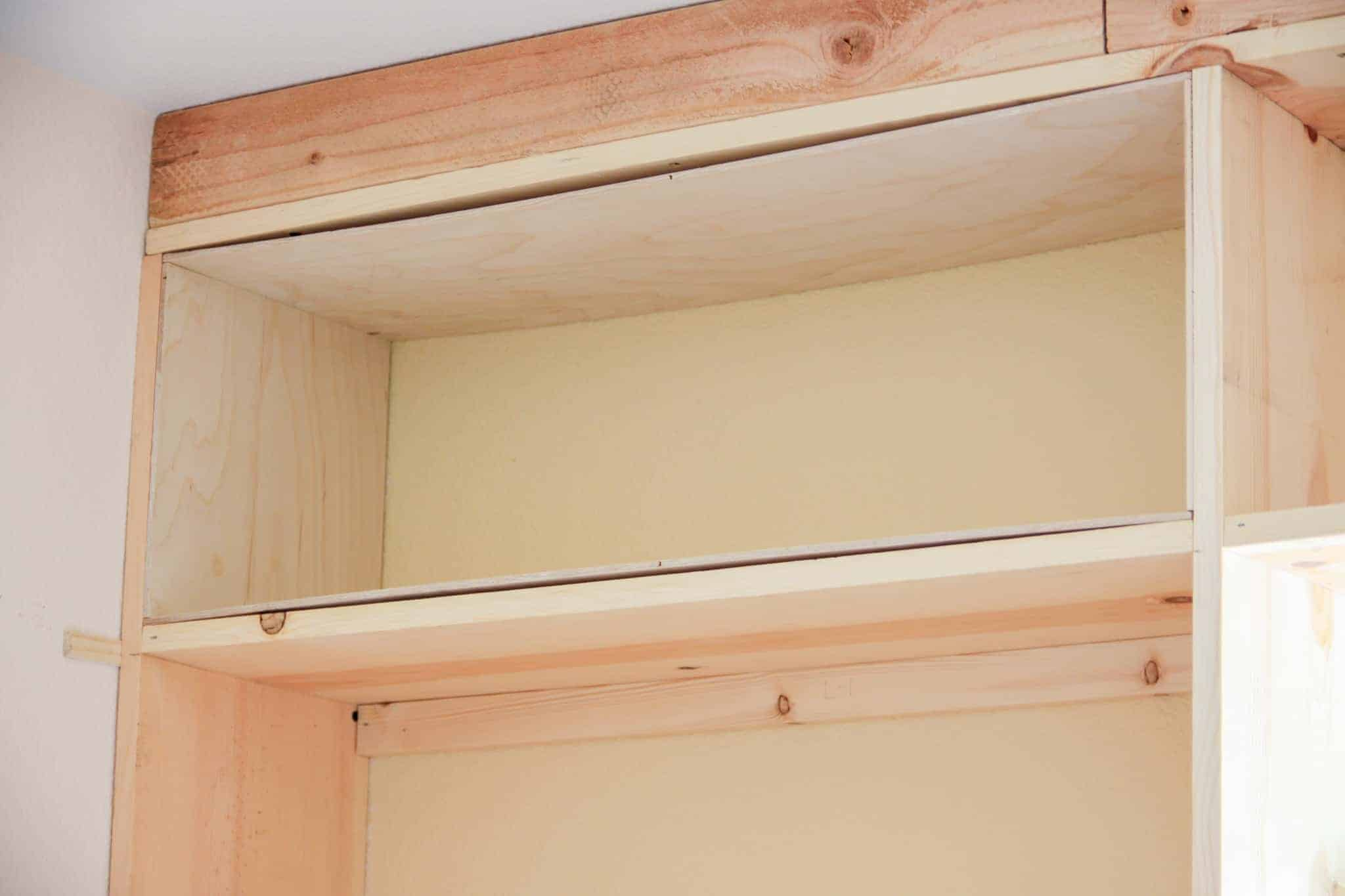 orc week 2 built ins plywood lined built-in shelves