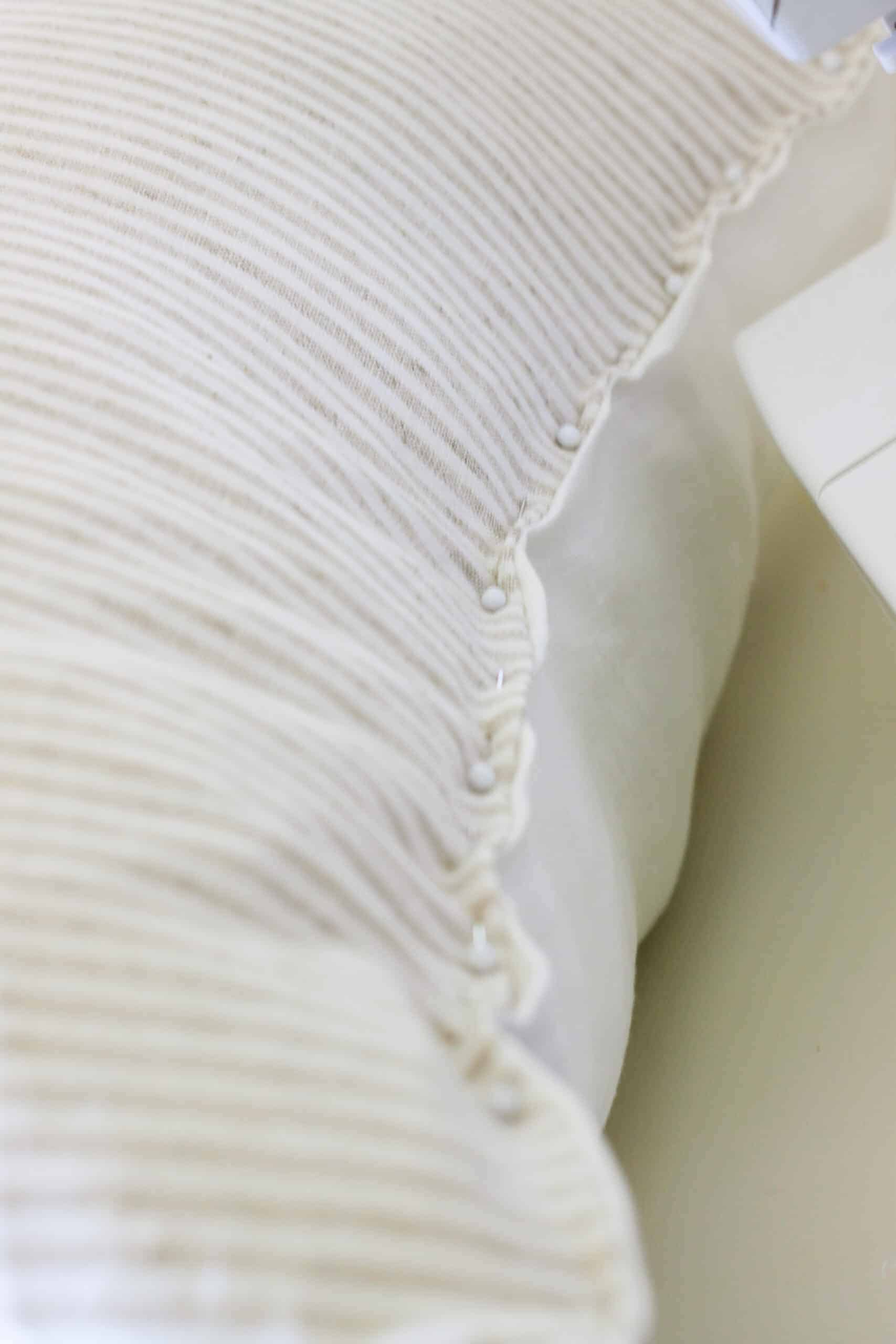 seam of pin stripe pillow