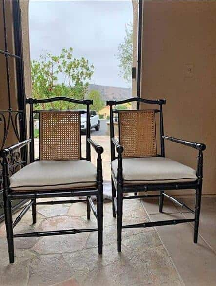 black and cane faux bamboo chairs