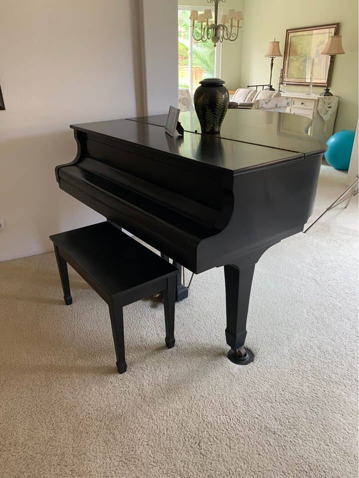 satin black baby grand piano