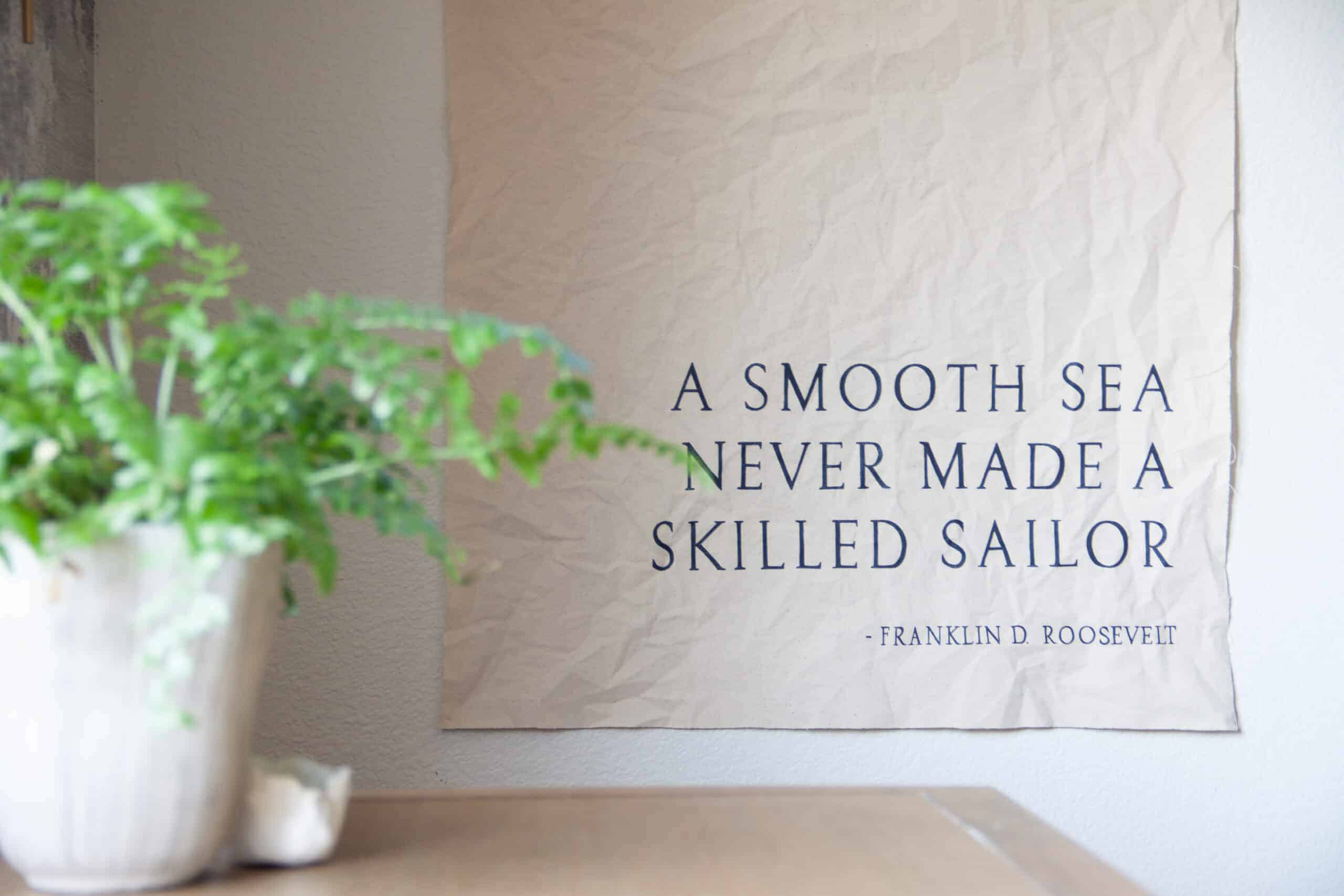 canvas banner with quote on it