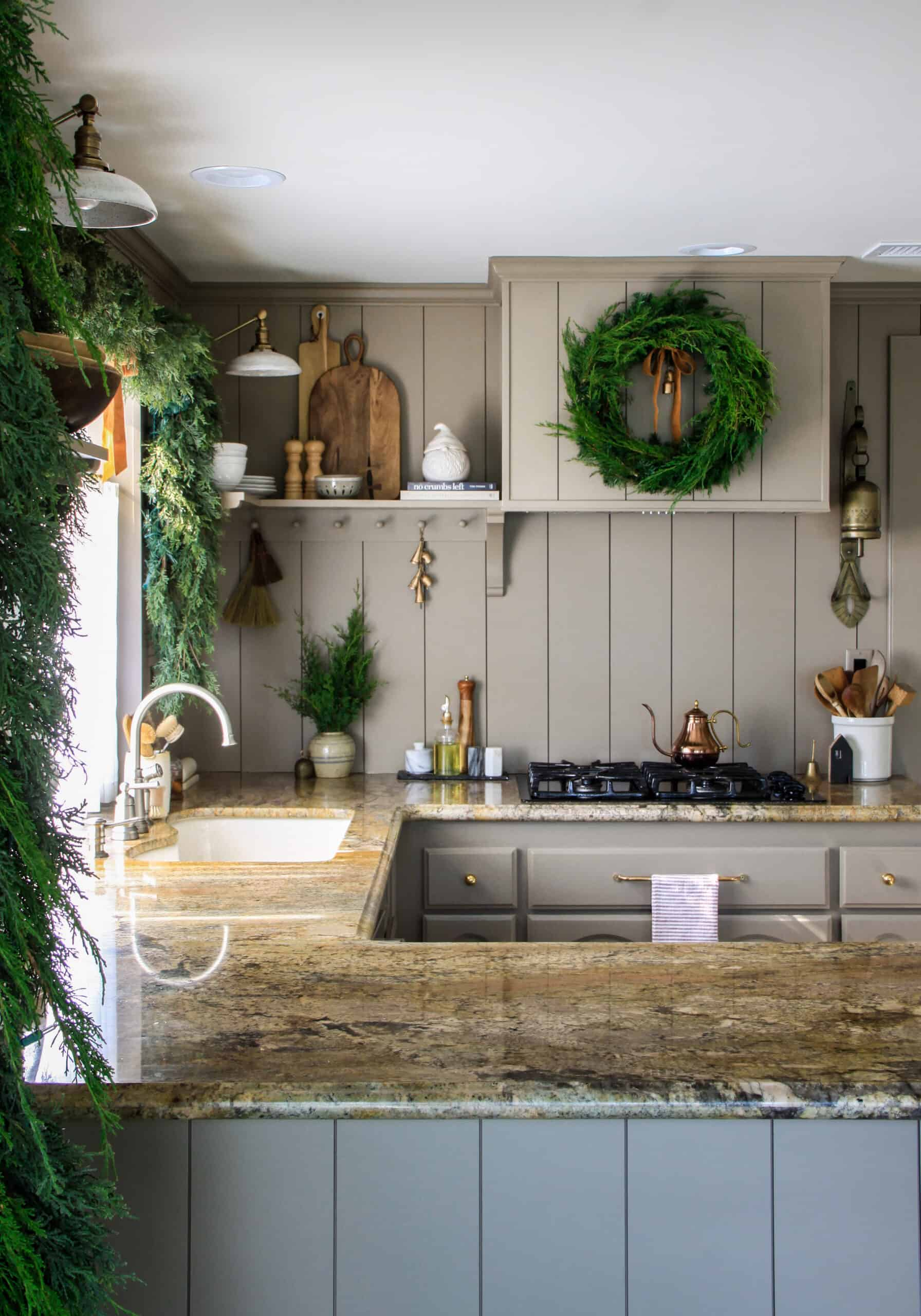 Taupe Shiplap Kitchen With Wreath