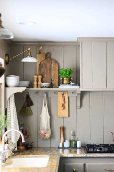 vertical shiplap taupe kitchen