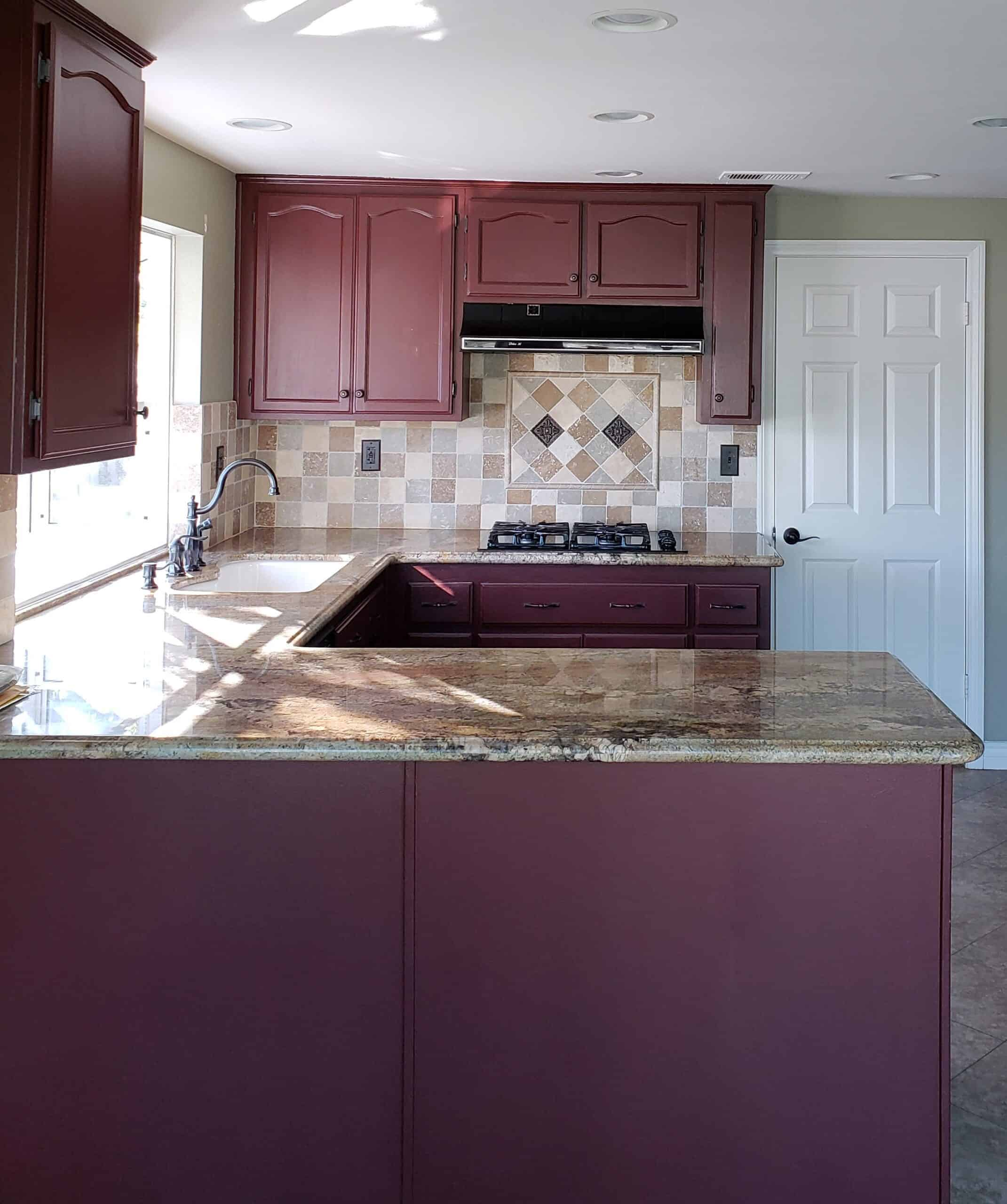 maroon kitchen cabinets before image