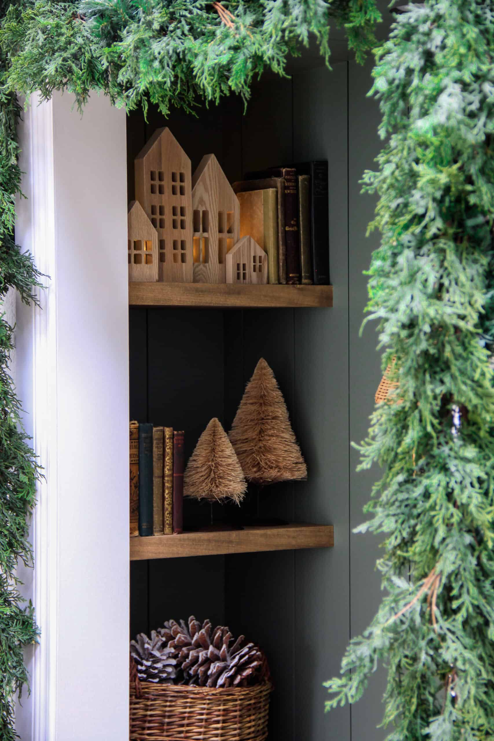reading nook shelves decorated for christmas