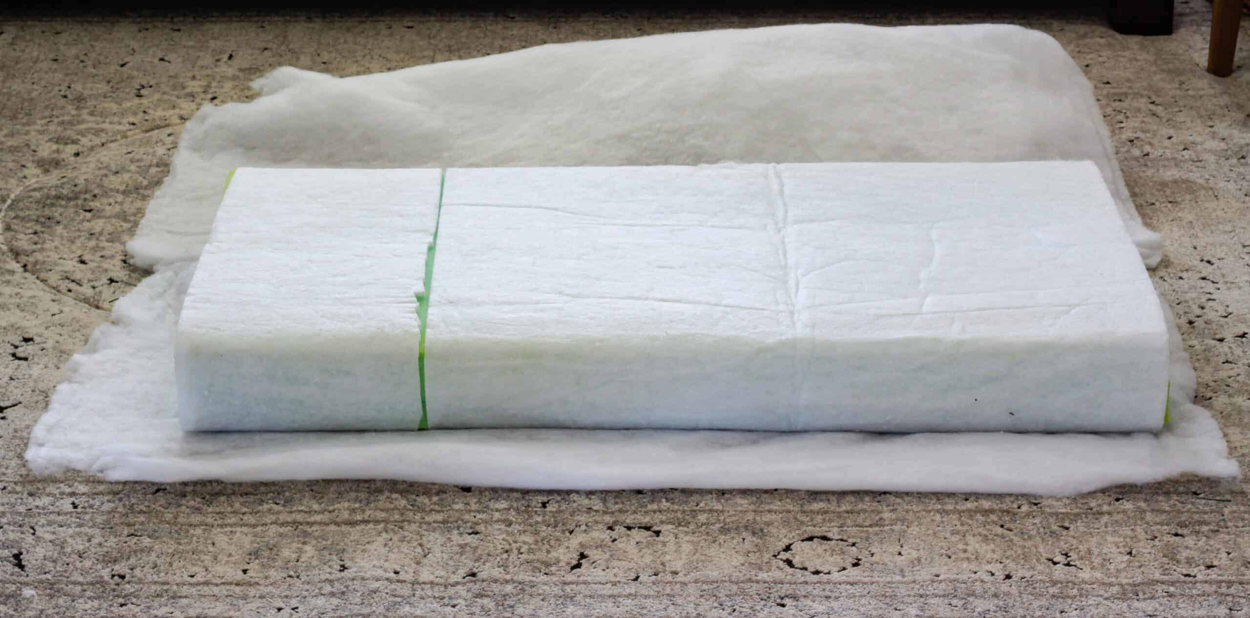 dacron wrapped cushion on top of batting
