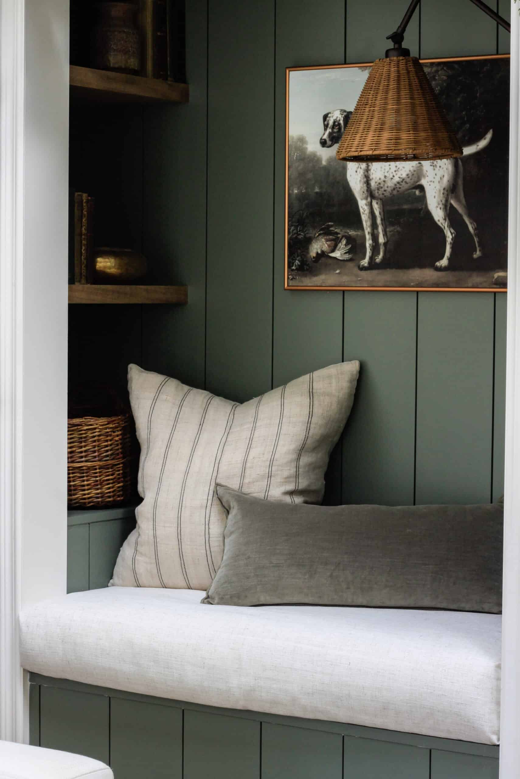 green shiplap reading nook