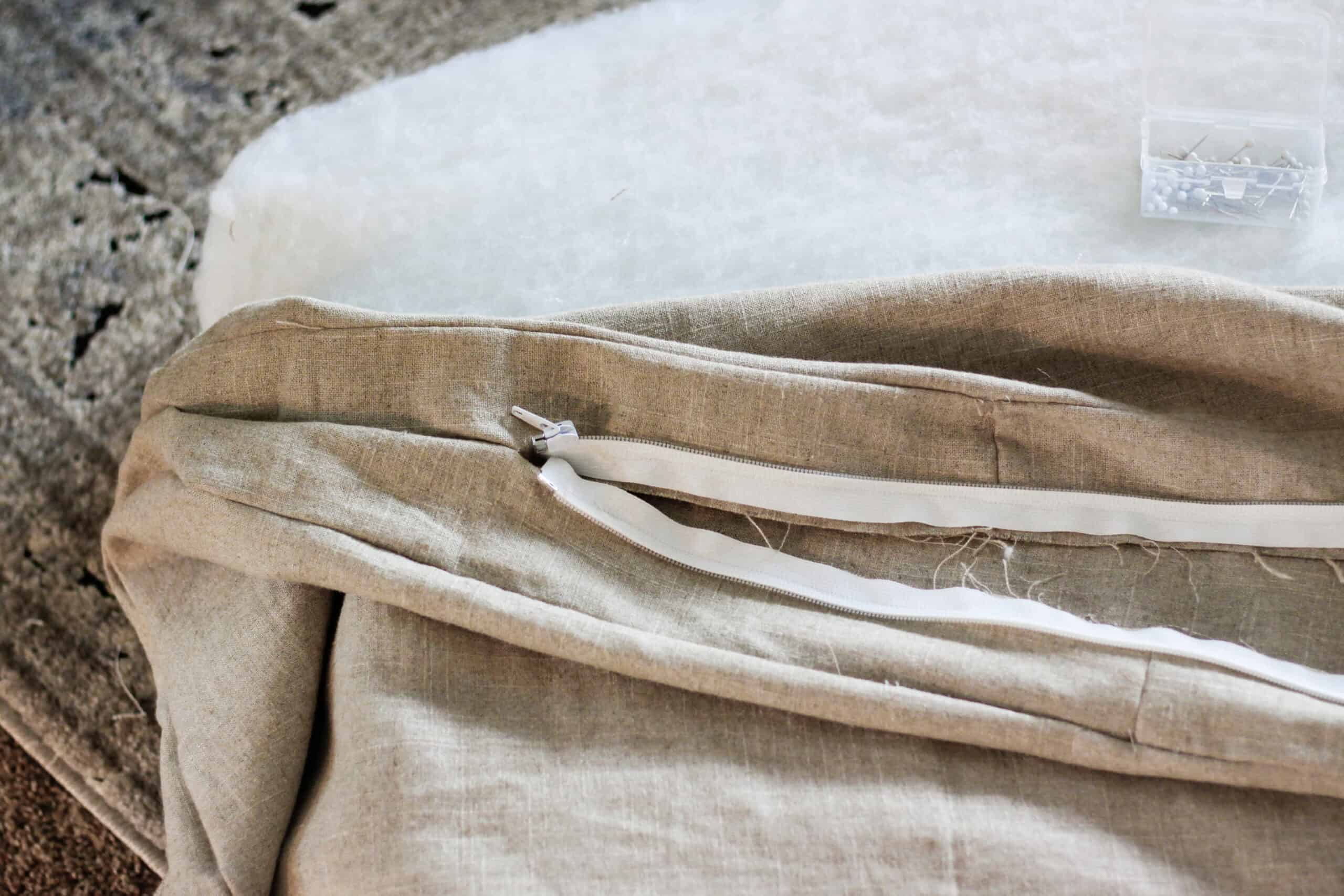 zipper sewn to the inside of bench cushion cover