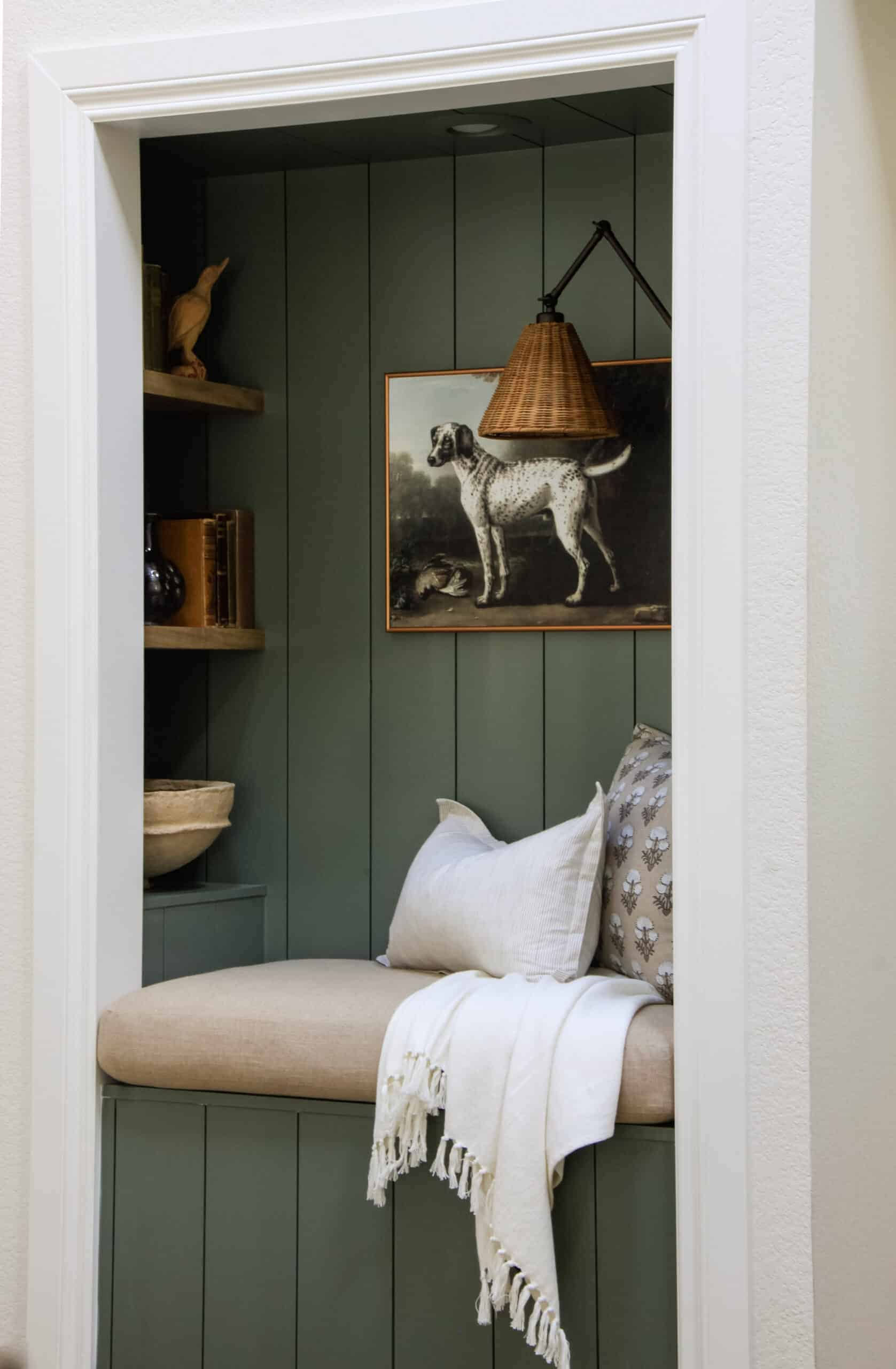 overstuffed bench cushion in reading nook