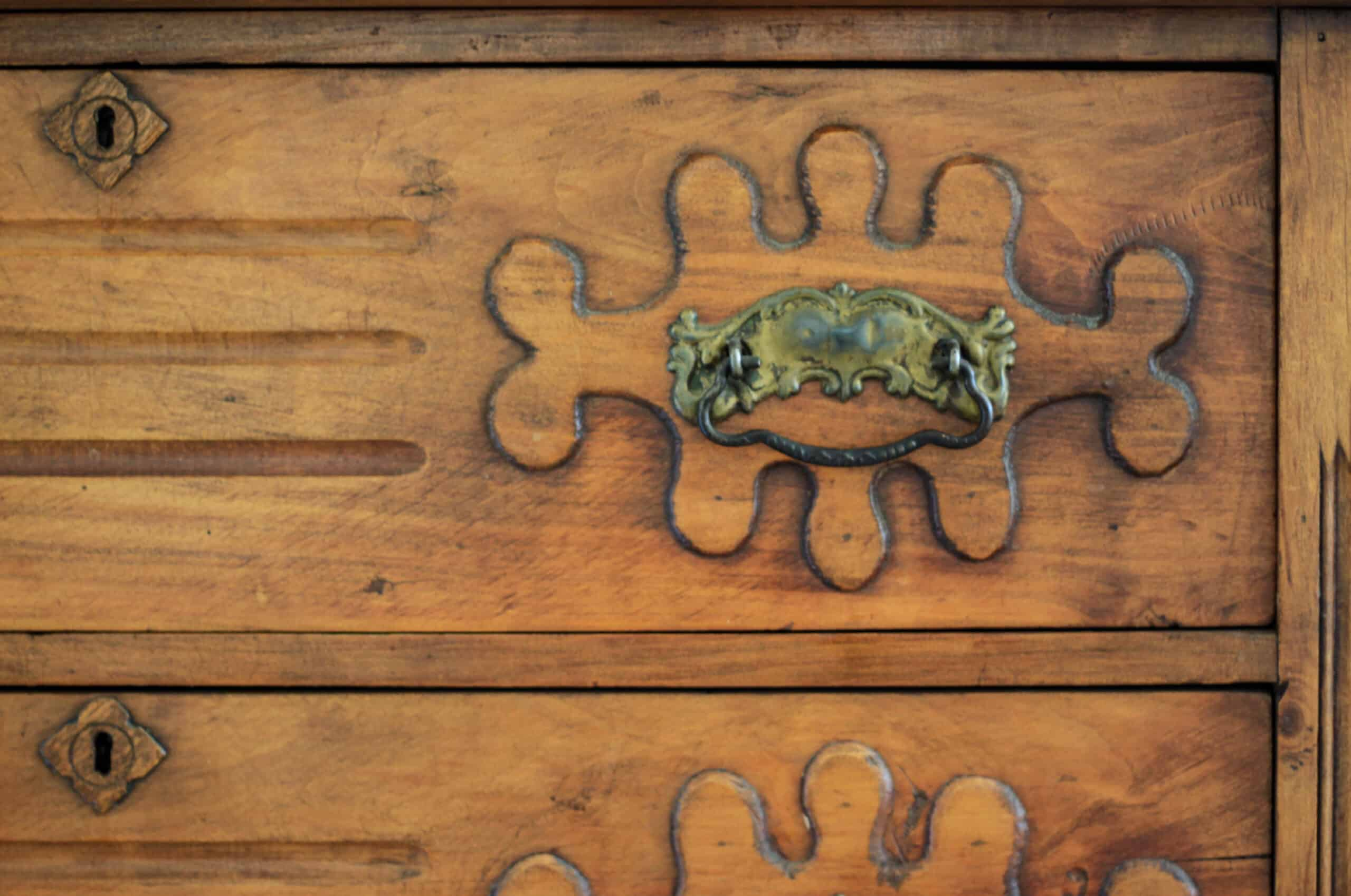 close up of antique chest
