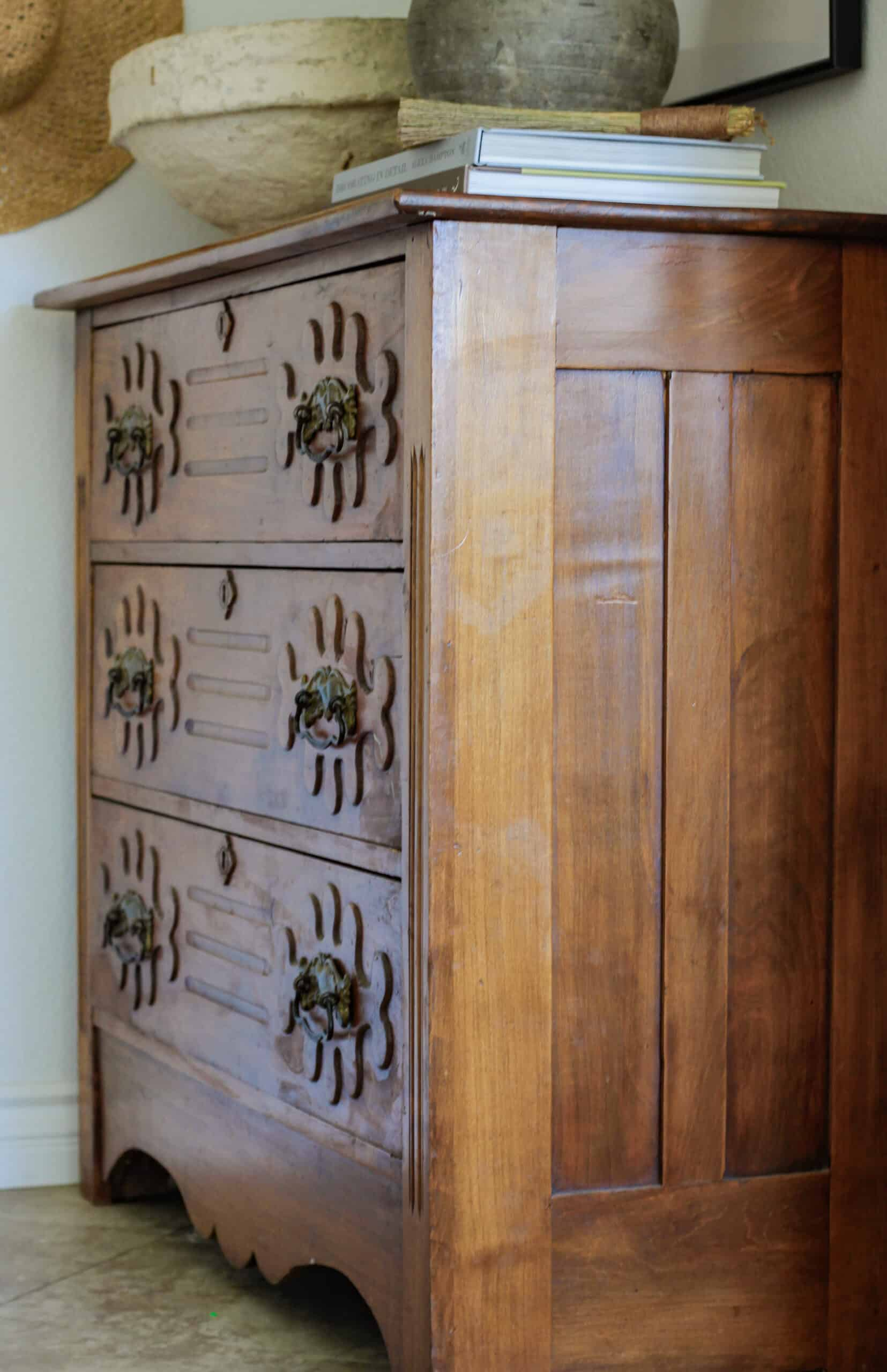 side view of antique chest