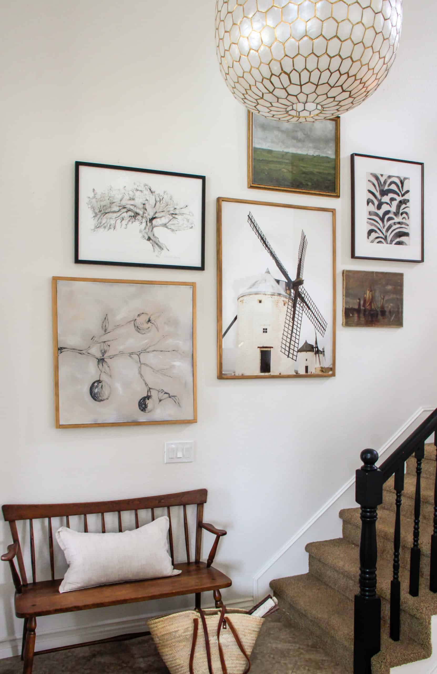 Collected staircase gallery wall