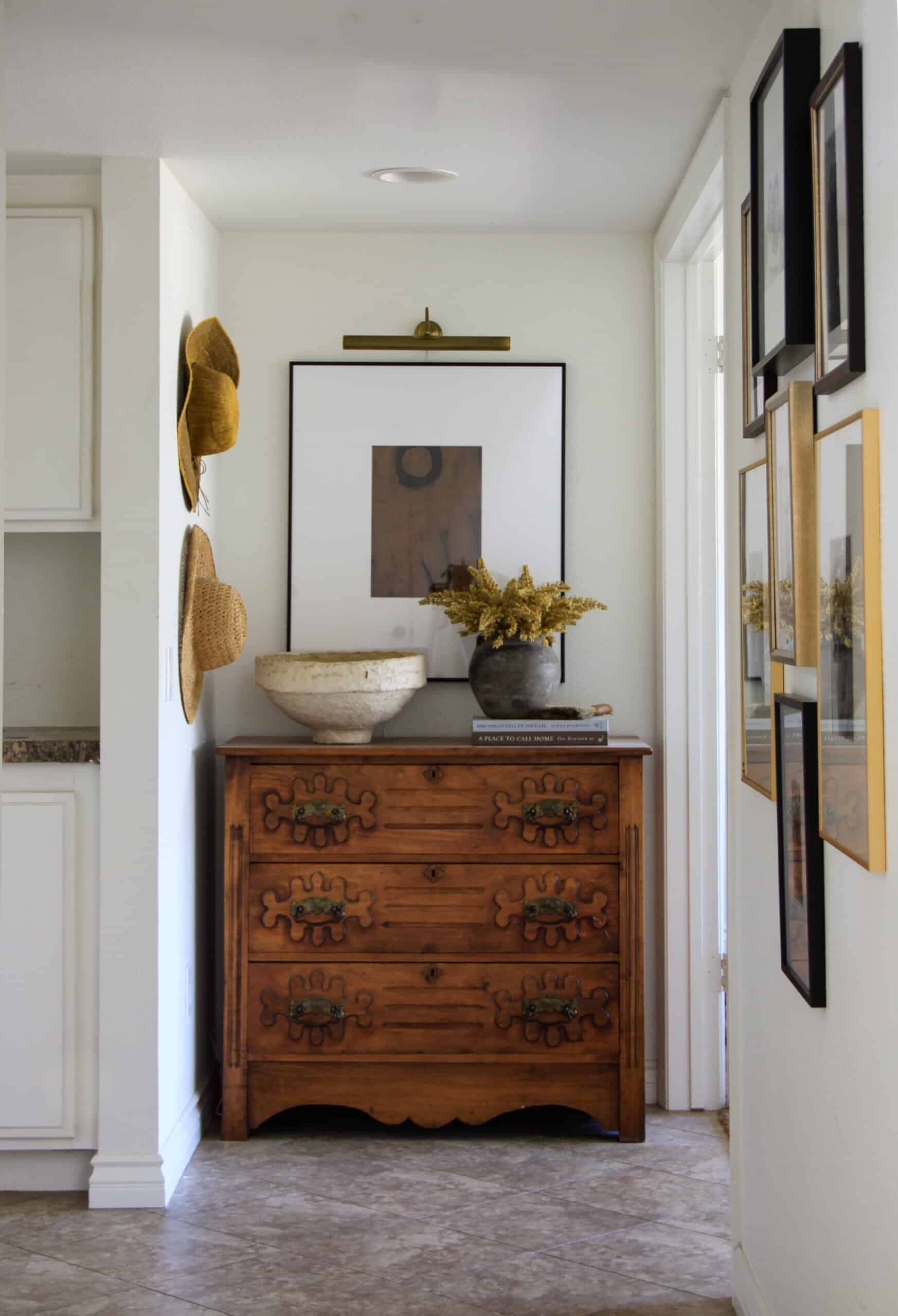 hallway with antique chest