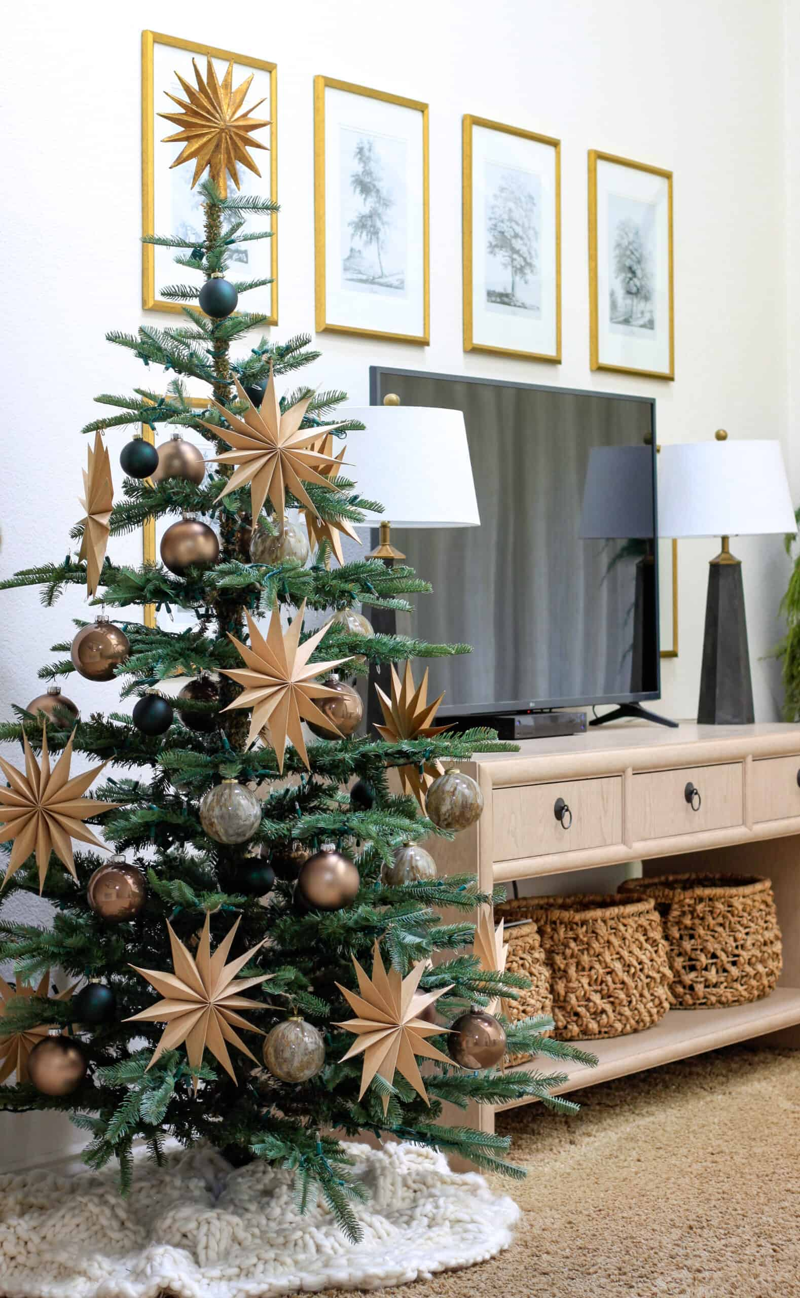Christmas tree to the left of TV table