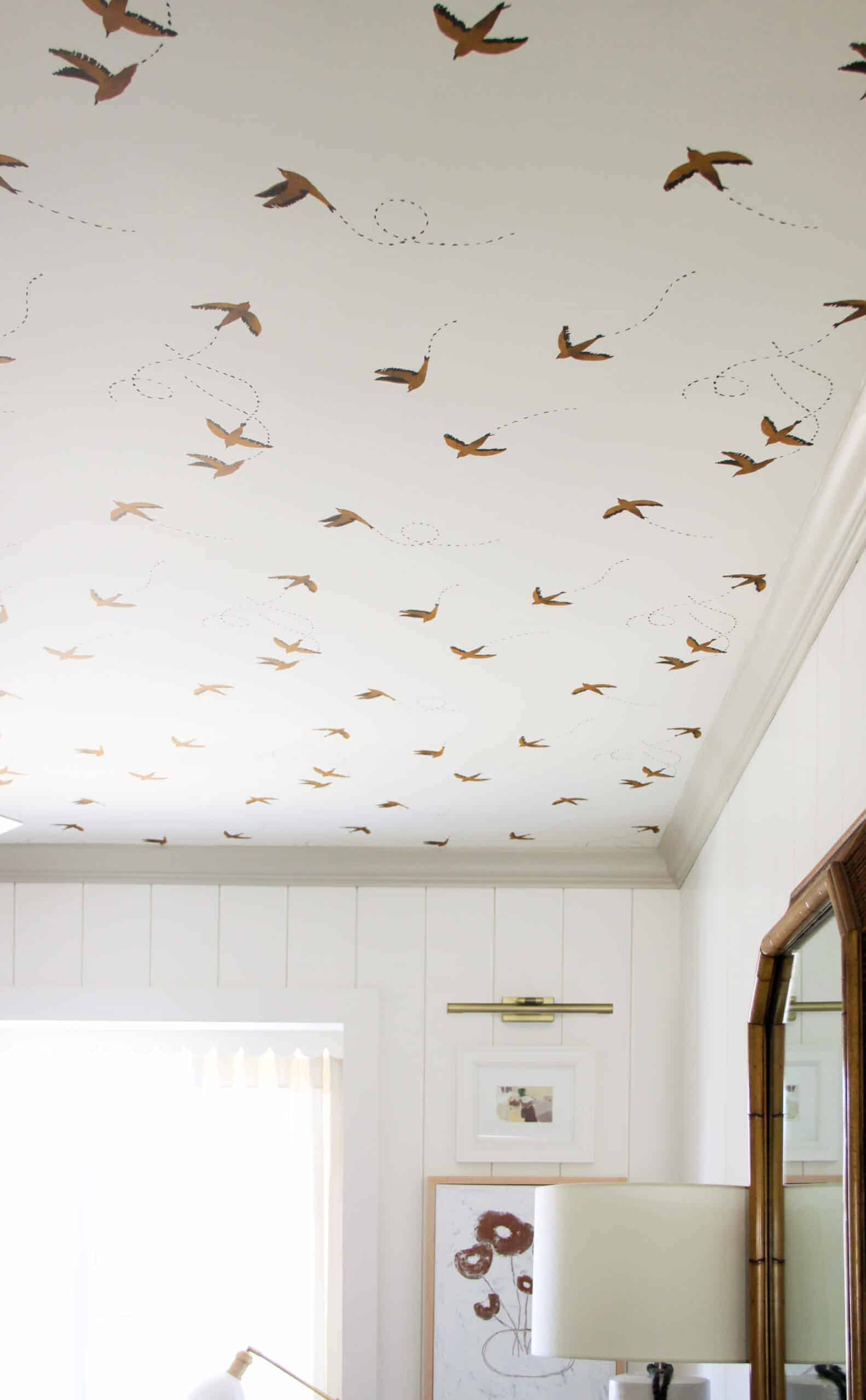 brown swallow wallpaper on ceiling
