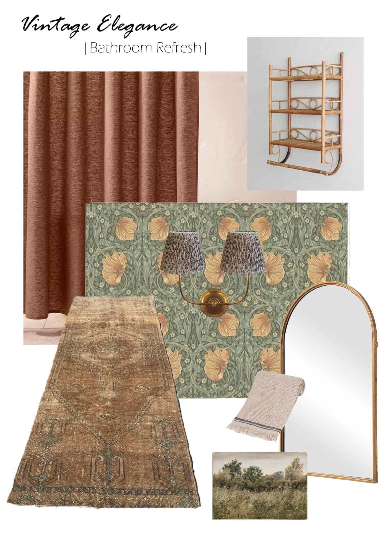 vintage elegance bathroom refresh mood board