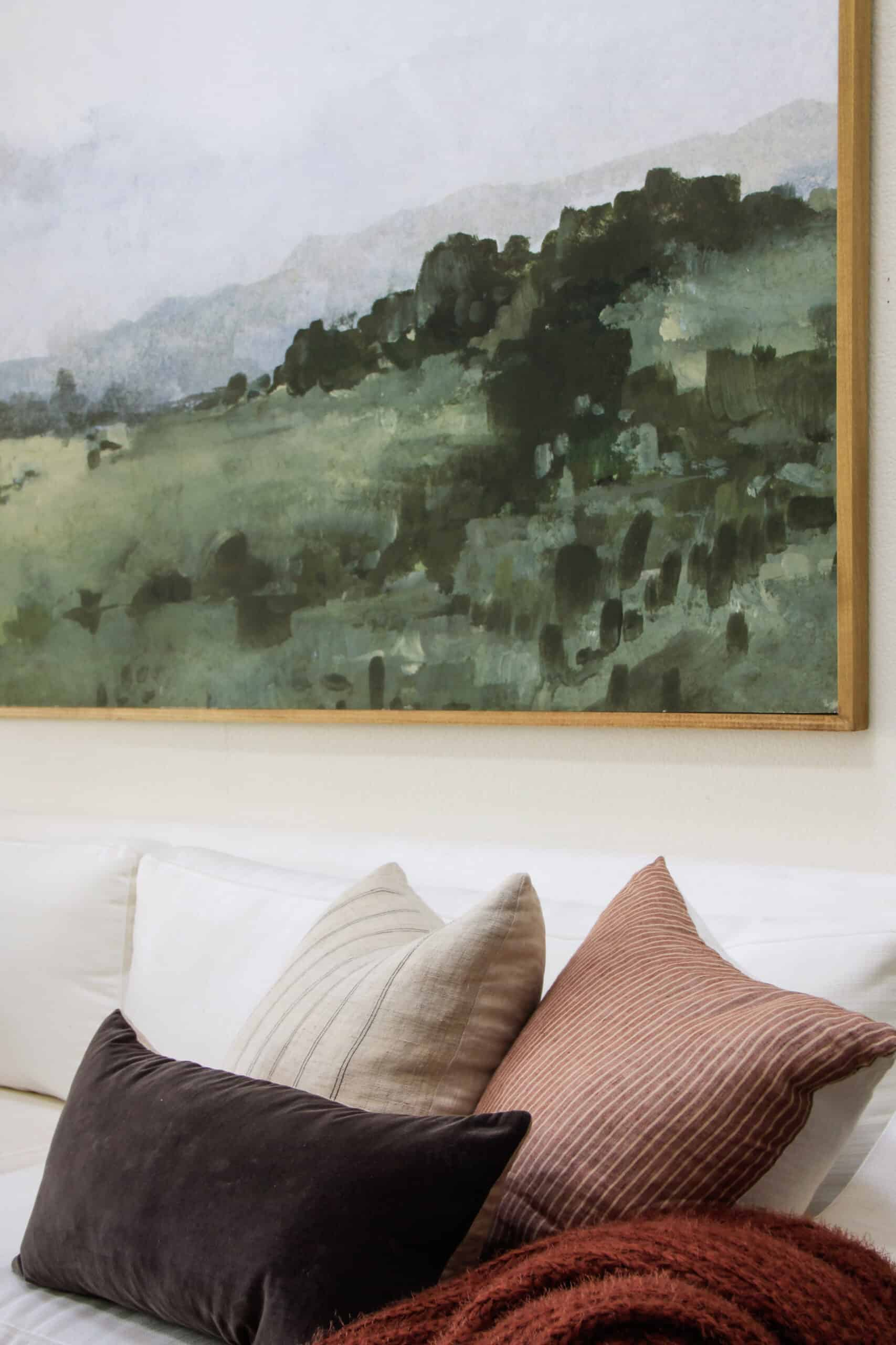 close up of pillows on a white sofa with framed artwork above