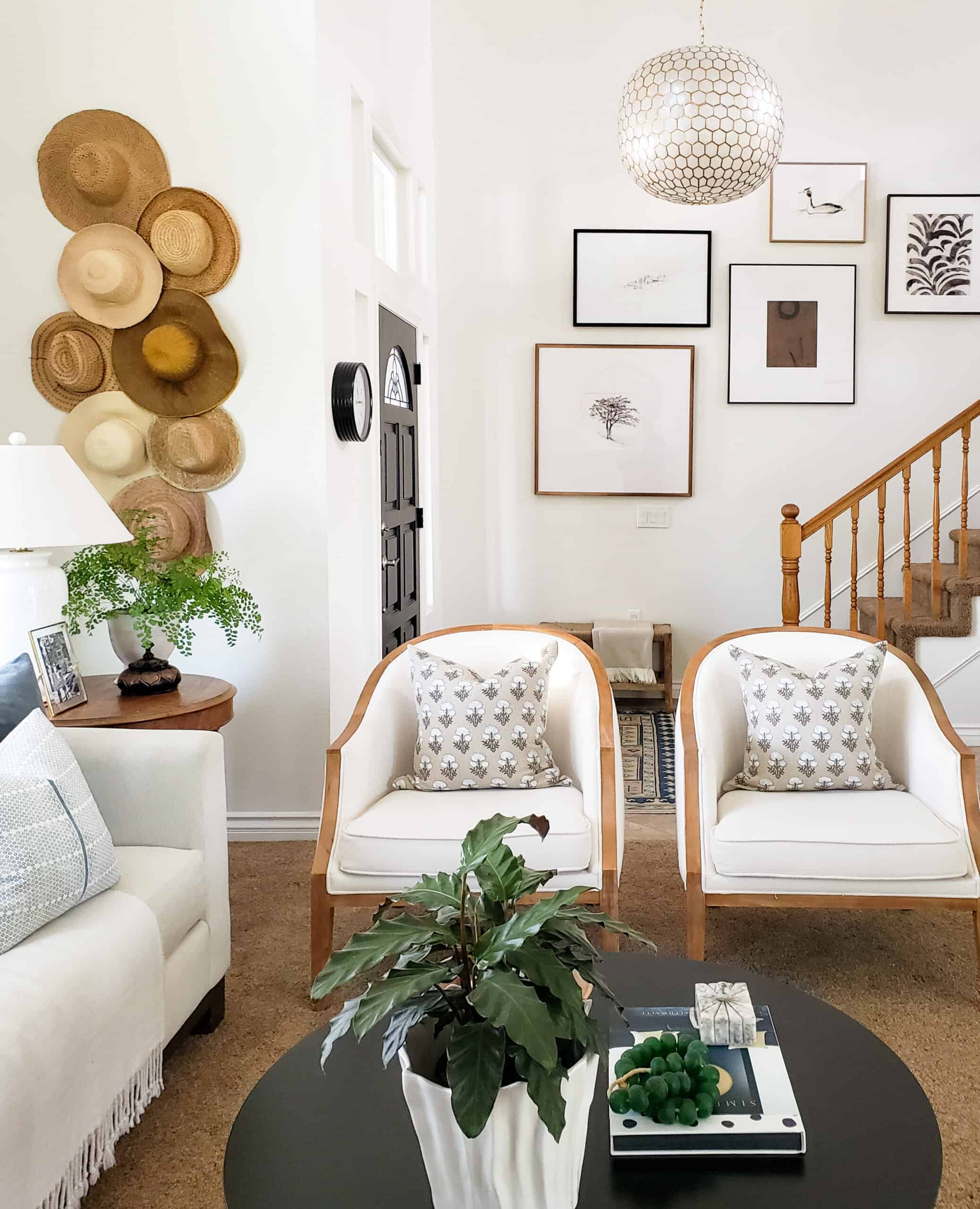 formal living room with white walls