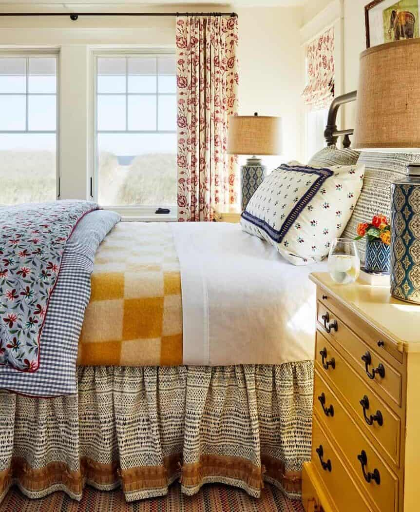 bright, colorful Maine bedroom