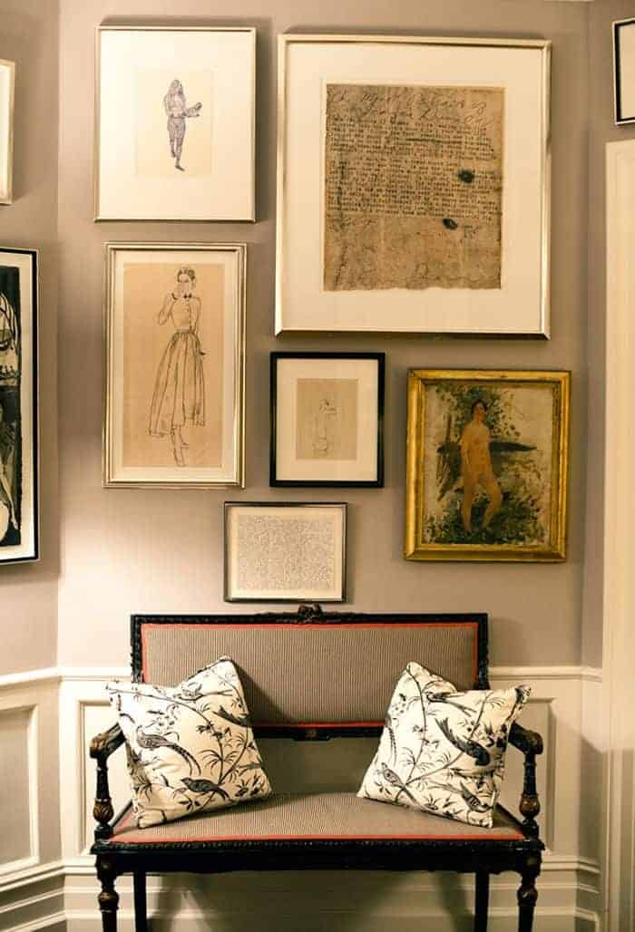 gallery wall of sketches