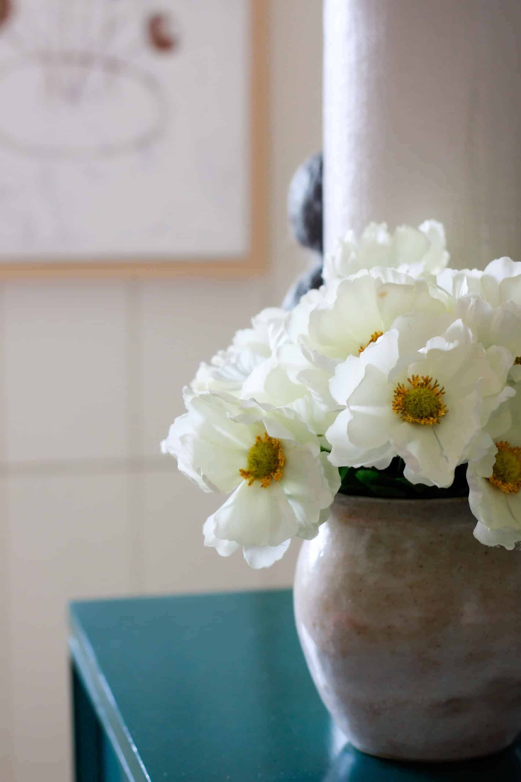 close up of white flowers on green dresser