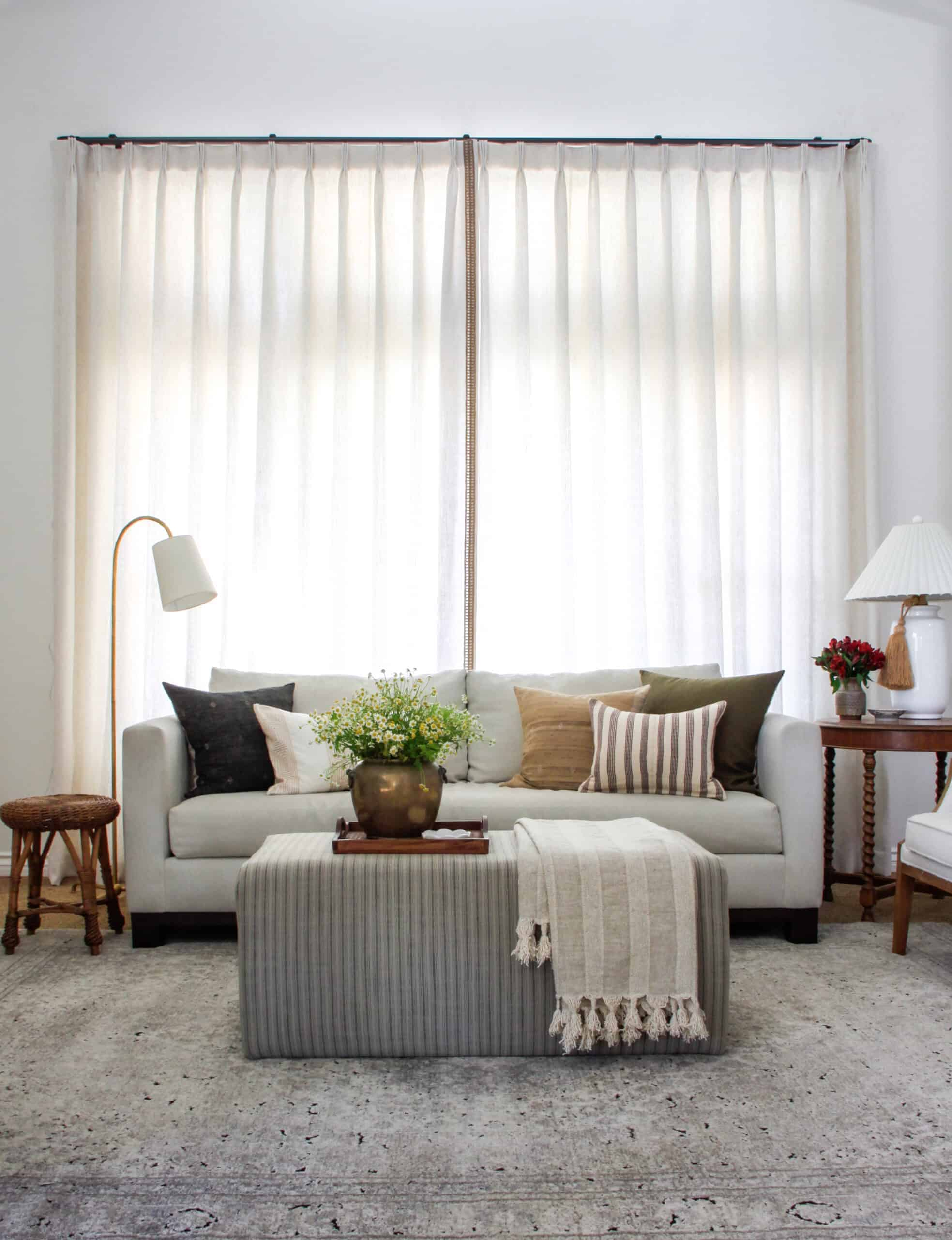 living room with closed curtains