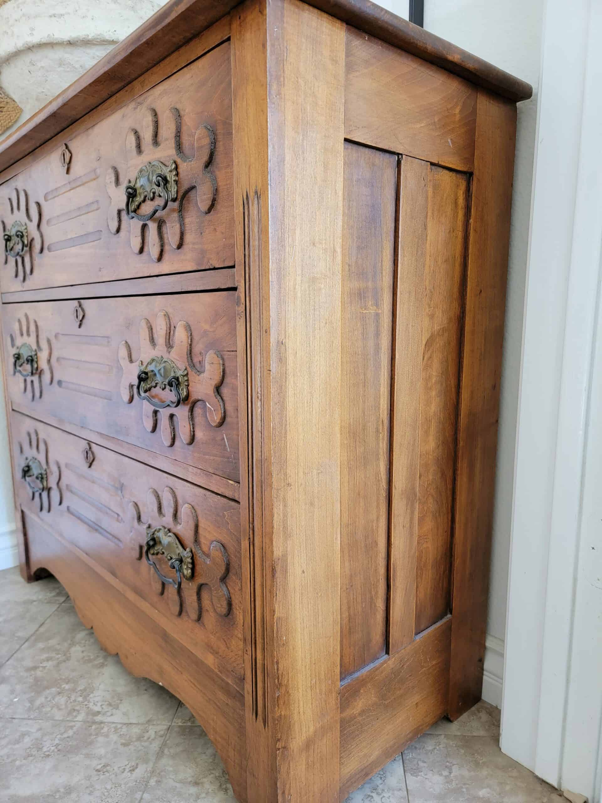 side of antique chest