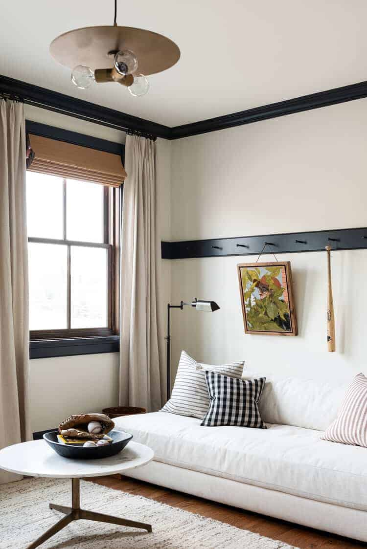 white bedroom with black contrast trim