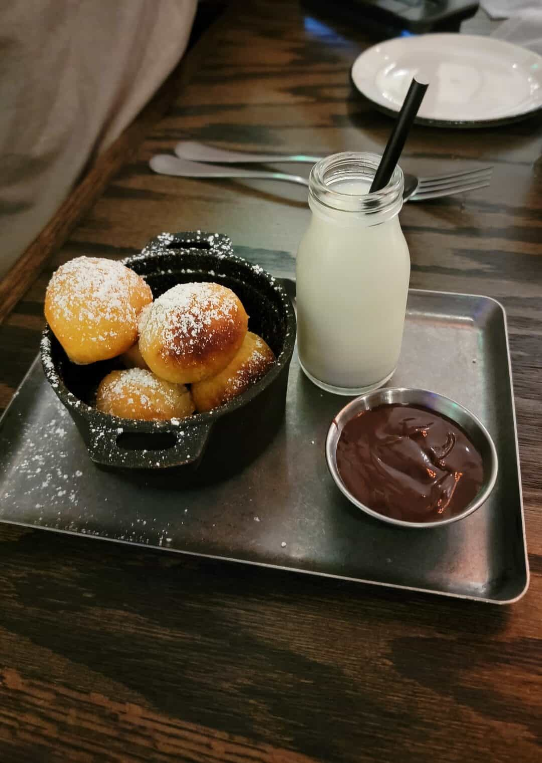 round donuts with milk and chocolate