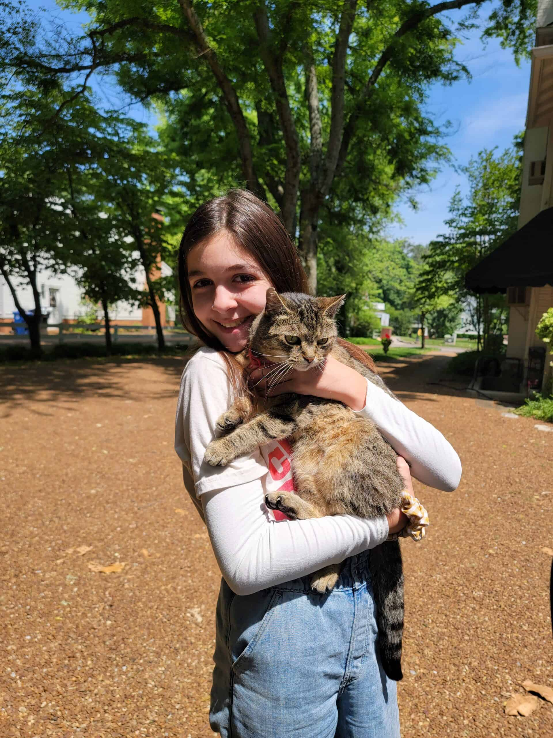 Noelle holding a cat