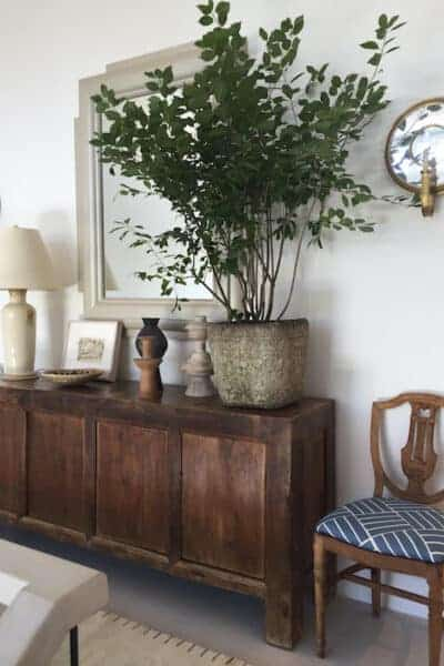 hallway with credenza and tree