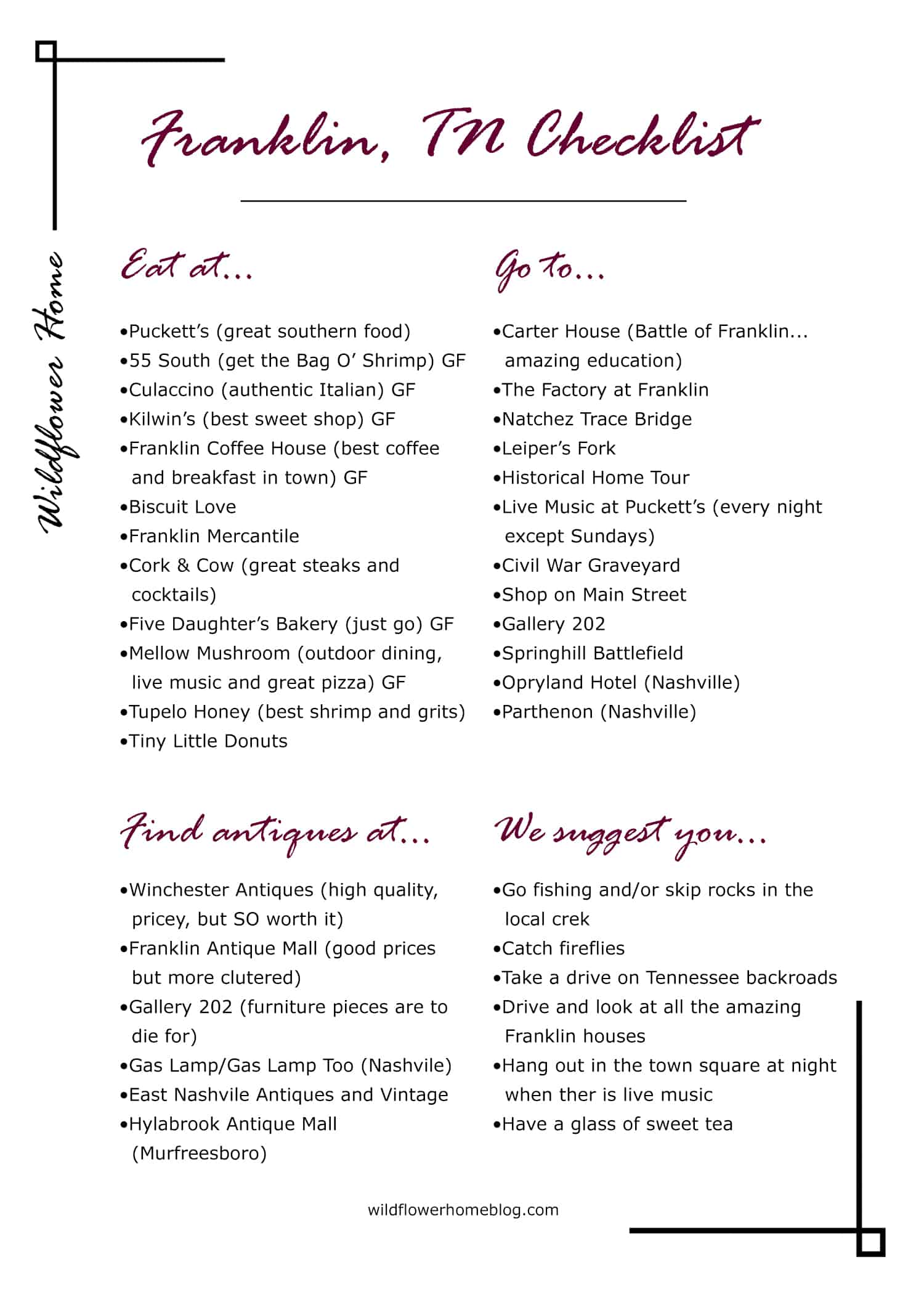 Franklin, TN what to see, do, and eat printable