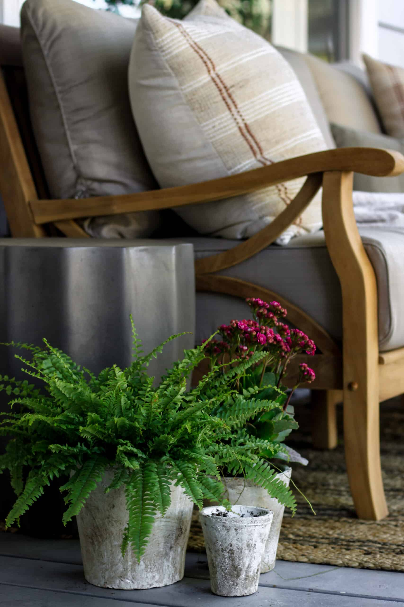 side of wooden porch bench with concrete side table and potted plants