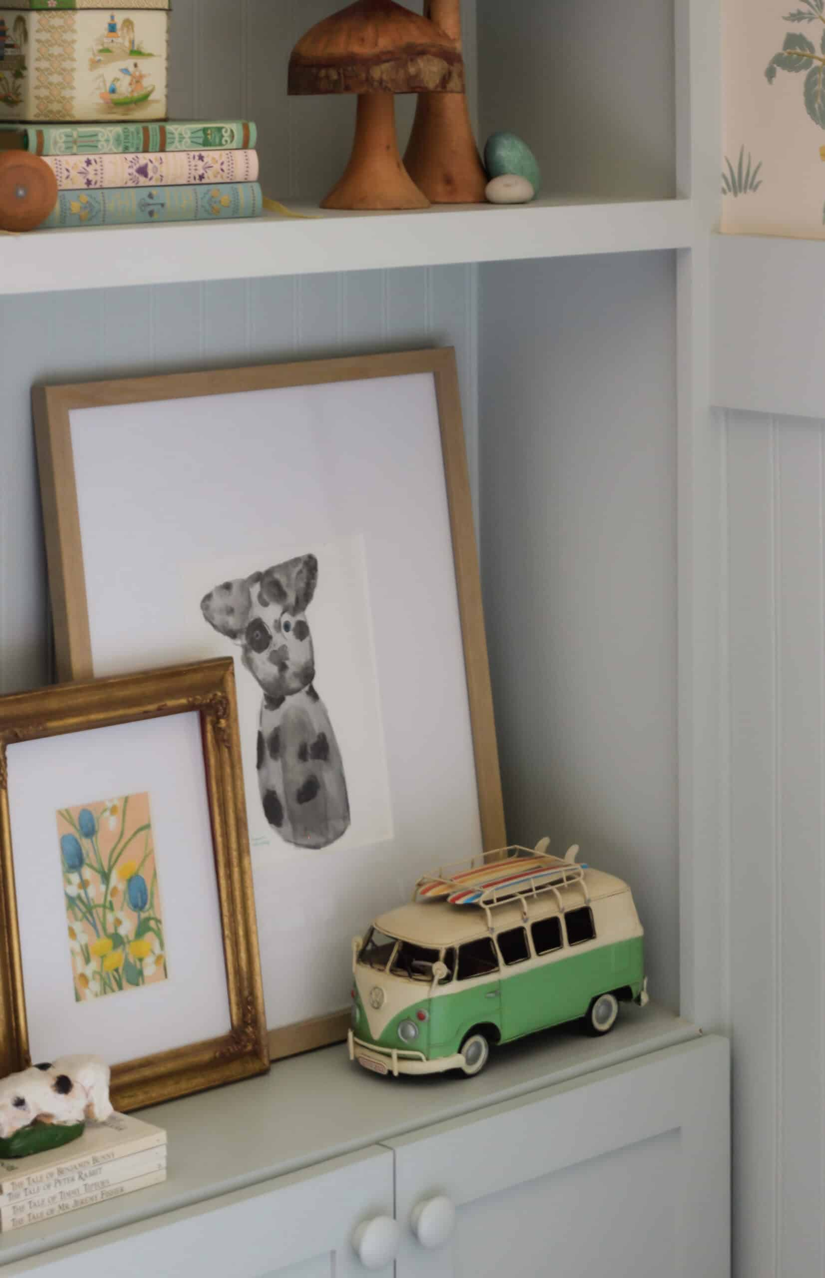 corner shelf styled with a toy VW bus