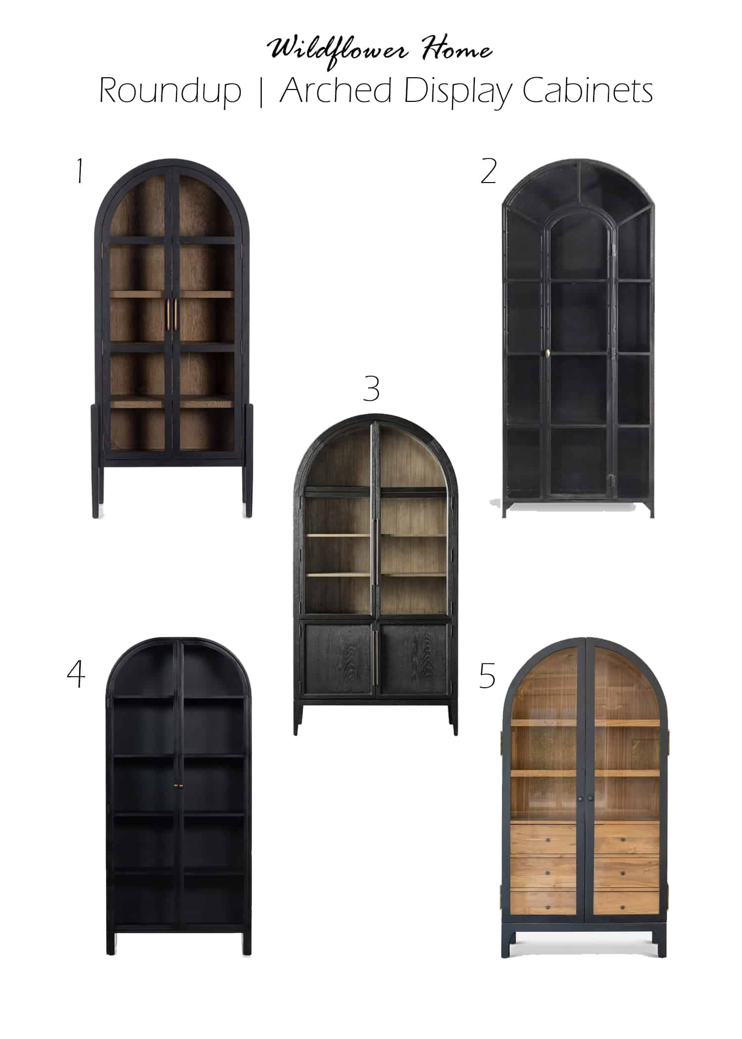 roundup of black arched cabinets