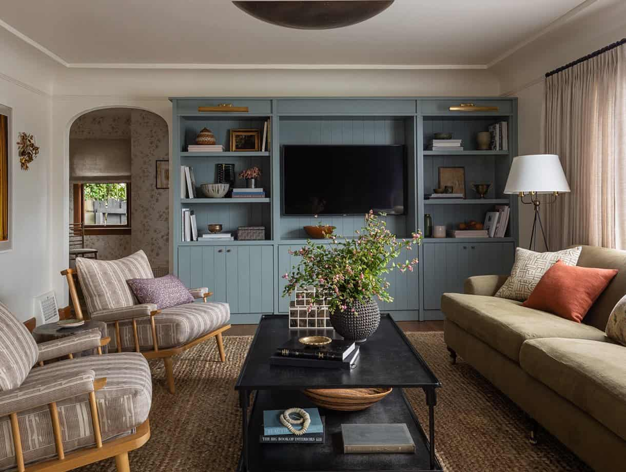 living room with blue built ins