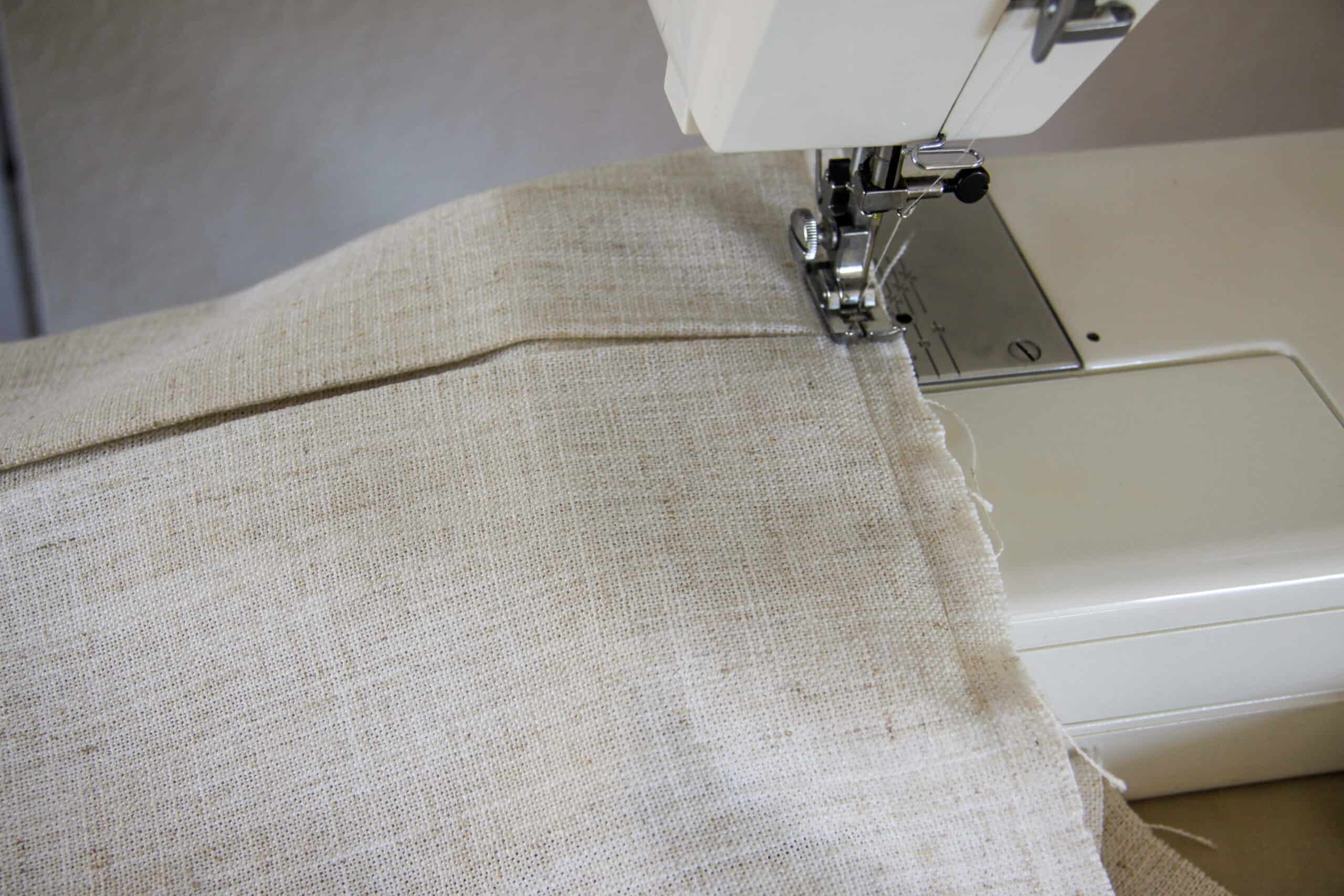 headboard canopy valance being sewn on a sewing machine